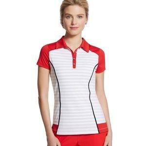 CHICO'S ZENERGY Golf Color-block Striped Polo
